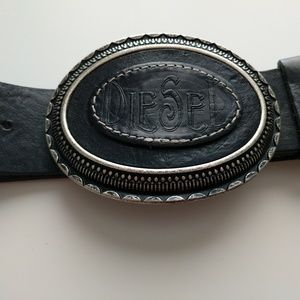 Diesel leather belt with large buckle sz80cm/32in